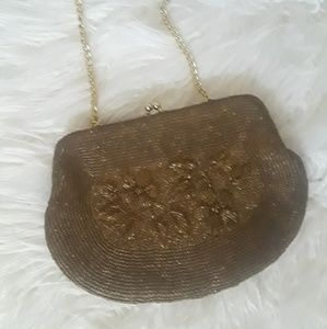 Vintage 60s Brown beaded purse with flower design